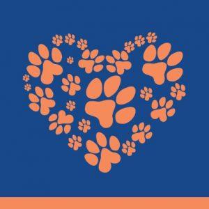 Heart shaped paw print pattern