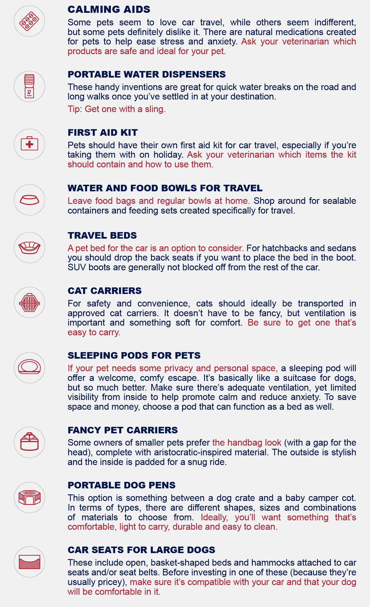 travel accessories and equipment for safe car travel infographic